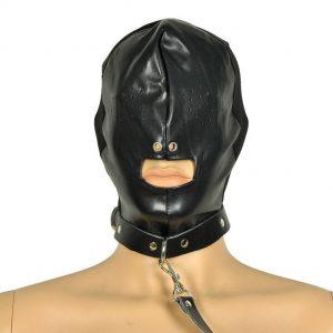 маска бдсмс прорезями для глаз с ремнем для сексуальных ролевых бдсм игр вагинального анального и орпльного секса