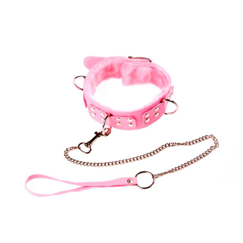Ошейник розовый с мягкой подкладкой