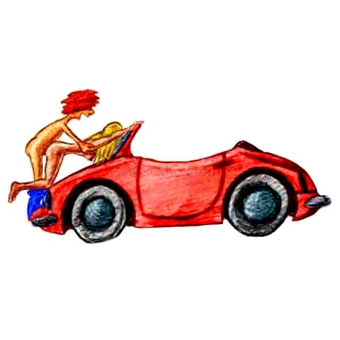 Поза для секса в машине на капоте Догги стайл Девушка стоит на капоте лицом вниз упирается коленками Парень стоит и трахает ее сзади