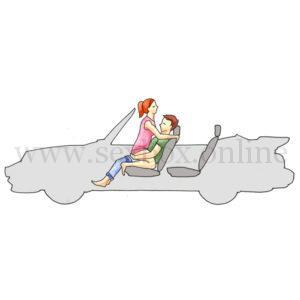 Поза для секса в машине на переднем сидении Подушки безопасности Парень сидит на кресле Девушка на нем лицом к нем у упирается сиськами в нос