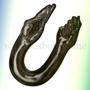 Фото: секс-игрушка черная рука для двойного фистинга в анал и вагину