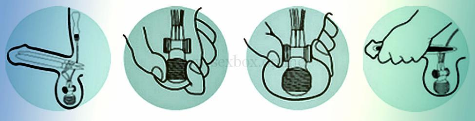 Фото: как создавать эрекцию в гидравлическом фаллопротезе. Нажмите на мошонку